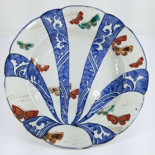 Antique Fine Japanese Polychrome Arita Nabeshima Style Plate Butterflies Signed