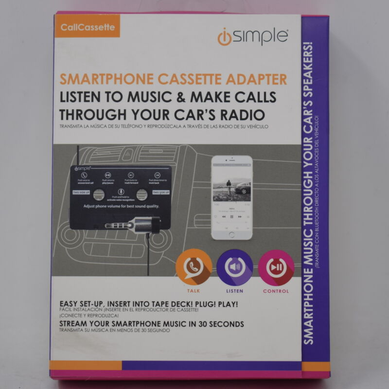 iSimple Cassette Tape Adapter with Built-in Microphone for Hands-Free Calling