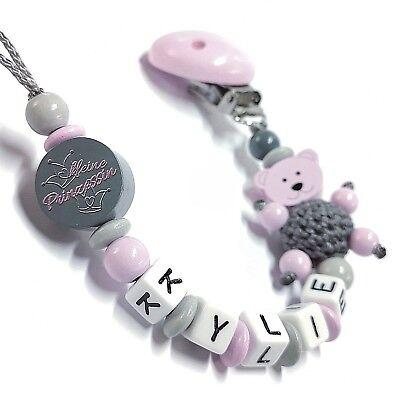 Schnullerkette mit Namen Motiv Teddy & Kleine Prinzessin Mädchen Rosa Grau