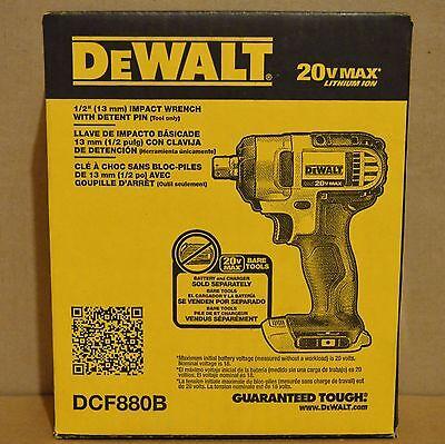 "DeWALT DCF880B 20V Li-Ion Cordless 1/2"" Impact Wrench w/ Detent Pin (Bare Tool)"