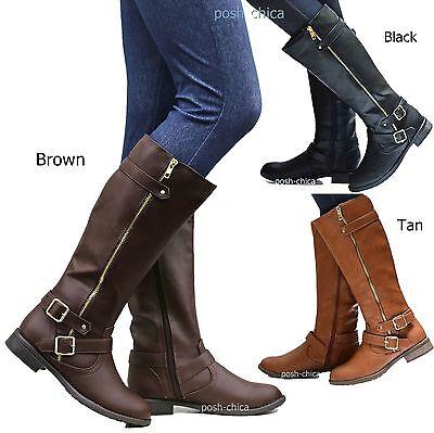 New Women FJus Black Tan Brown Buckle Biker Riding Knee High Boots 5.5 to 10 ()