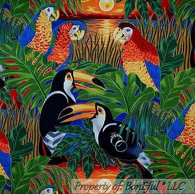 BonEful Fabric FQ Cotton Quilt Rainbow Yellow SUN*SET Tropical Parrot Bird Tucan
