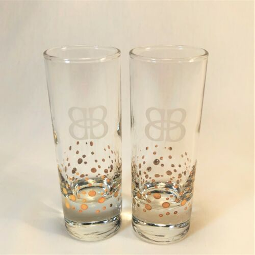"2 Baileys Irish Cream Shot Glasses 4"" Confetti Gold Dots Etched Logo Shooters"