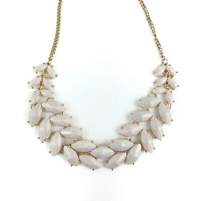 Gold Tone Pink Leaf Cabochon Wreath Bib Collar Chain Necklace Statement Classic