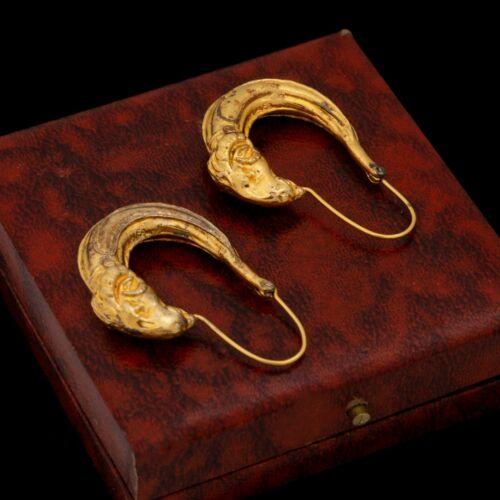 Antique Vintage Nouveau Style Sterling Silver Gold Wash Etruscan Earrings 23.1g