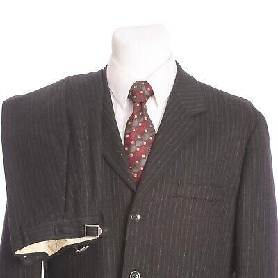 Banana Republic 3 Button Italian Flannel Wool Chalk Stripe Gray Suit 42R 34x32 (3 Button Italian Mens Suit)