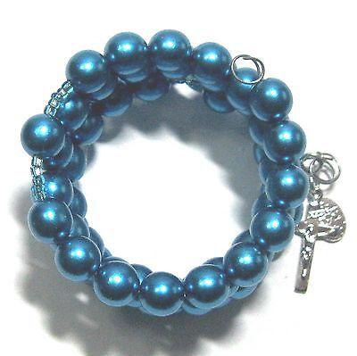 Rosary bracelet 8mm blue-green Czech glass beads on memory wire ᵐ A2