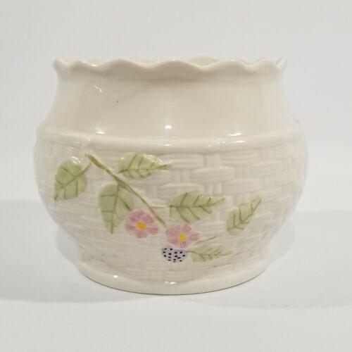 "BELLEEK ""Summer Briar"" Woven Basket Vase Bowl, Berry & Flowers, Black Mark 2000"