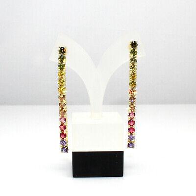"14K Gold Plated 925 Sterling Silver Rainbow Drop Dangle Earrings Set, 2"""