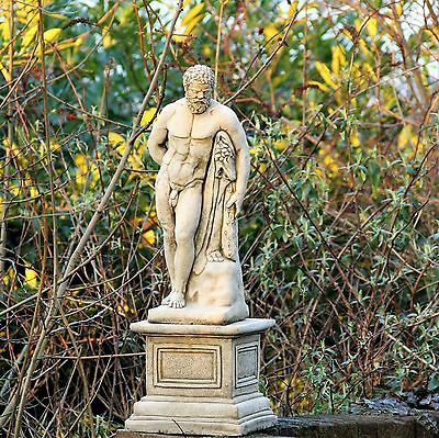 Large Hercules On Plinth Statue Mythic Hero Greek Stone Cast Aged Antique Decor