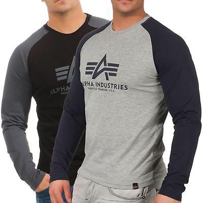 Baumwolle Langarm Henley Shirt (Alpha Industries Herren Longsleeve Basic 176531 langarm Shirt Pulli Henley Mann)