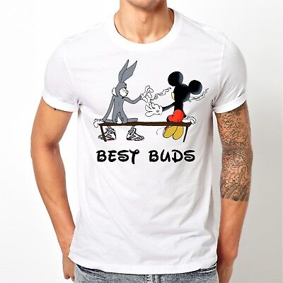 🔥 Best Buds Unisex T-shirt Funny mickey bugs bunny smoking blunt legalize