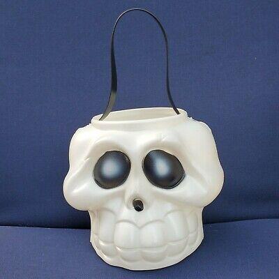 Vintage SKELETON Treat Bucket White & Black BLOW MOLD Pail Halloween Scary EUC