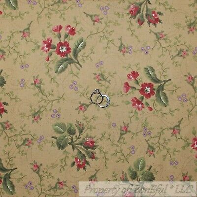 BonEful Fabric FQ Cotton Quilt VTG Brown Tan Green Leaf Red Pink Rose*Bud Flower