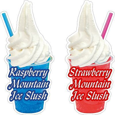Slush Ice Mountain Raspberry and Strawberry  Stickers x2 DECAL CUT UV LAMINATED