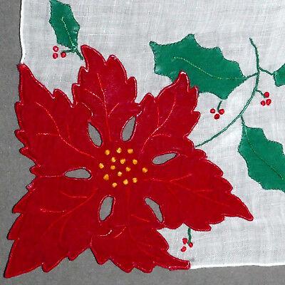 Linens Hanky Vintage CHRISTMAS Poinsettia Applique Flower 100% PURE LINEN #3