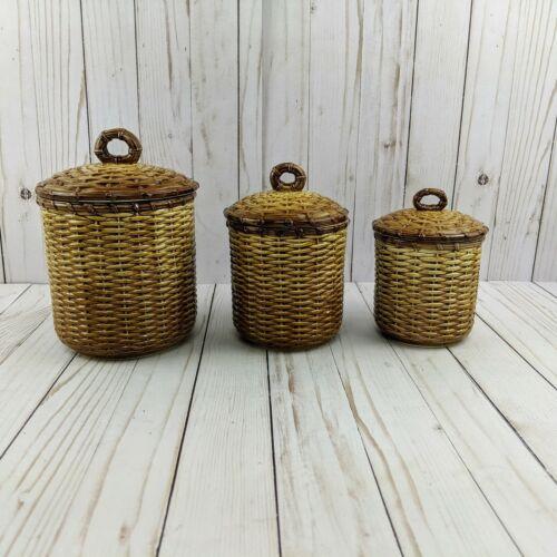 Vintage 1983 Otagiri Brown Basket Weave Ceramic Canisters Set of 3 Made in Japan