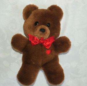 Dakin-10-Brown-Teddy-Bear-Red-Heart-Bow-Plush-Stuffed-1985