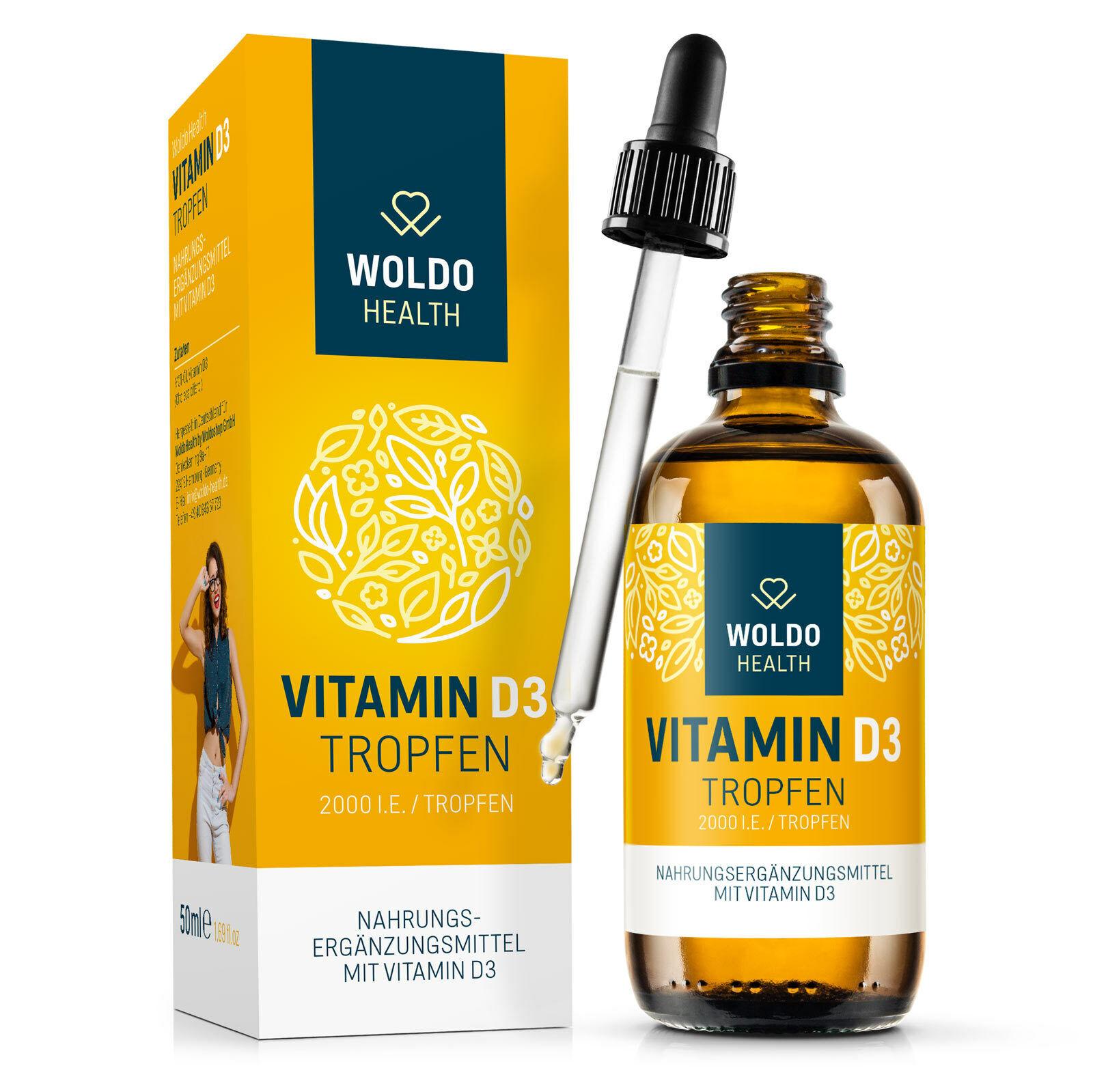Vitamin D3 Tropfen 50ml 2.000 I.E. 50µg hochdosiert MCT Öl aus Kokosöl