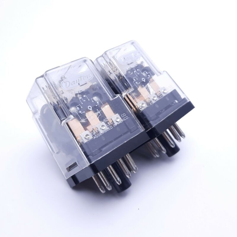 Lot of 2 Dayton 3X742E Ice Cube Relays, 120V Coil Voltage, 10A, 3PDT, 11-Pin