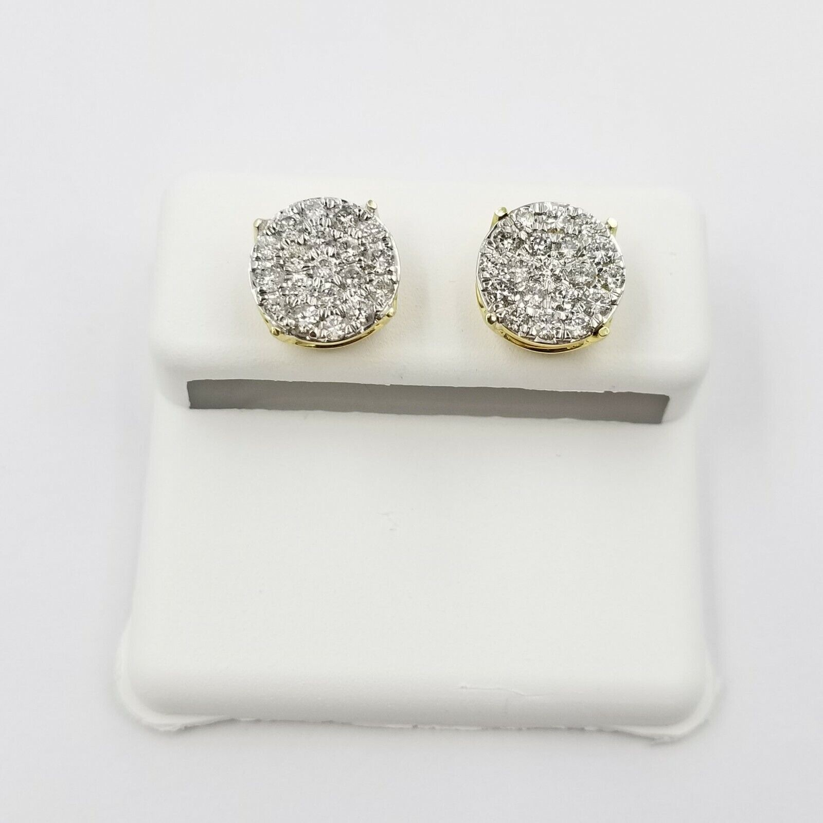 10k Real Yellow Gold Round Stud Diamond Earring 9mm 0.88CT For Women