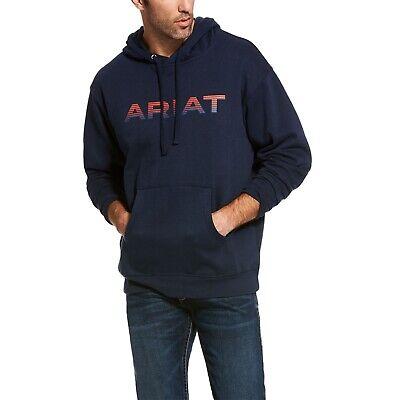 Ariat® Men's Navy Blue Graphic Logo Hoodie Sweatshirt 10027981 Blue Classic Logo Hoody Sweatshirt