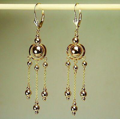 14k solid yellow gold drop/ dangle beautiful earrings leverback 2.0 grams