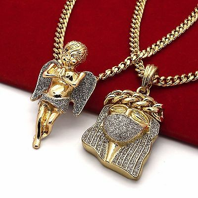 "Men's 14k Gold Plated High Fashion 2 pcs Jesus & Angel 3mm 30"" & 24"" Cuban Chain"