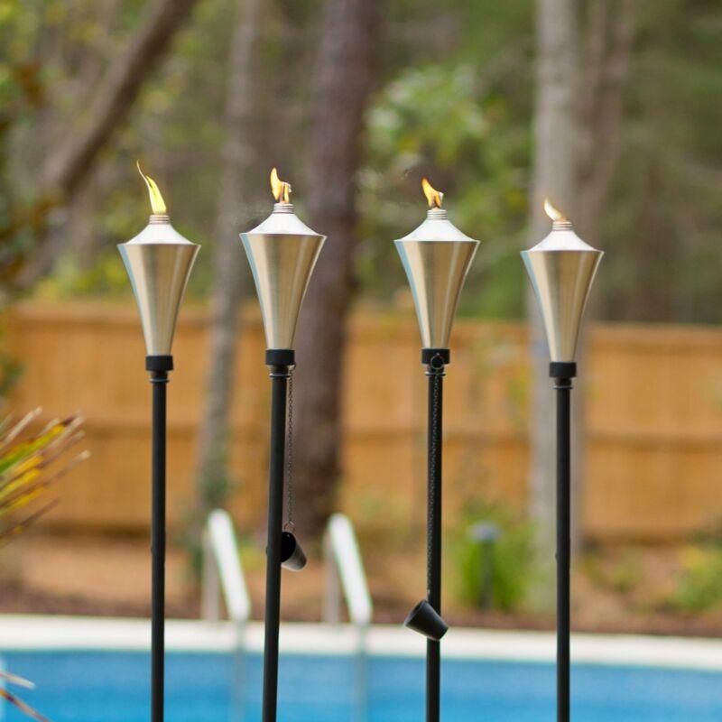 Dusq | Set of 4 Brushed Nickel Anco Outdoor Garden Torches