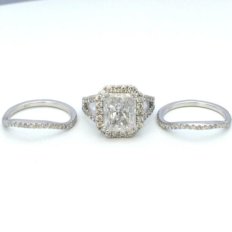 Appraised 5.9 Ct Halo Diamond Ring 18k White Gold Flawless Vs1 Size 5.5 6.5 7 9