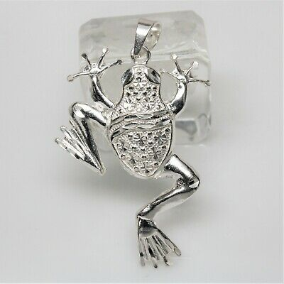SHINY, REAL, LARGE, DIAMOND CUT, STERLING SILVER FROG PENDANT
