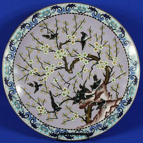 "Large Vintage Japanese Cloisonne Cherry Bloosom w/Birds 15 3/8"" Plate"