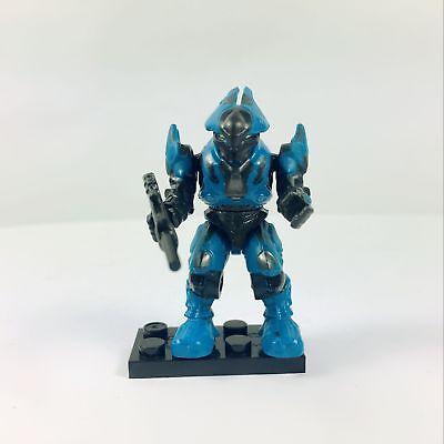 HALO MEGA BLOKS COVENANT BLUE ELITE ULTRA WITH GUN BASE STAND BOY TOY (Halo Boy)