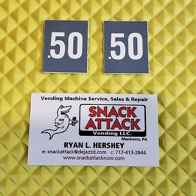 2 Soda Vending Machine .50 Cent Vend Label Price Stickers Free Ship