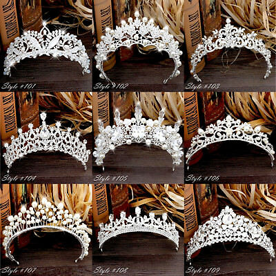 Big Silver Wedding Diamante Pageant Party Tiaras Hair Crowns Tiara - Big Tiaras