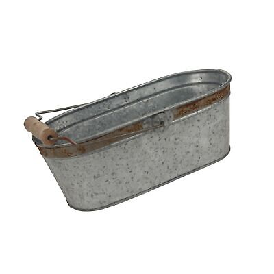 Stonebriar Small Aged Galvanized Metal Oval Bucket With Wooden Handle - $32.99