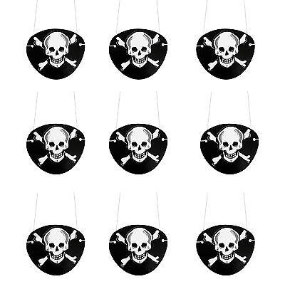 9 Augenklappen Piraten Schwarz Totenkopf Fasching Piratenkostüm - Augenklappe Pirat Kostüm