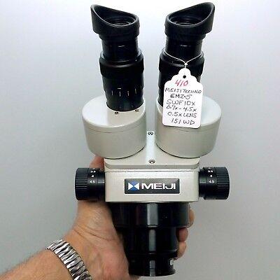 Meiji Techno Emz-5 Stereo Zoom Microscope Swf10x Ma517 0.5x Lens 151mm Nice 410