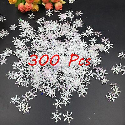 Christmas Snowflakes (300X Classic Shiny Snowflake Ornaments Christmas Tree Holiday Party Home Decor)