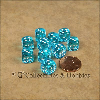NEW 10 Transparent Turquoise Blue 10mm Rounded Edge RPG D&D Game D6 Dice -