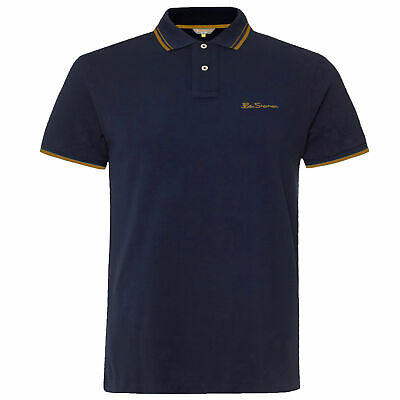 Ben Sherman Mens Tipped Pique Polo T-Shirt Short Sleeve Top Navy 0062104