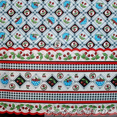 BonEful FABRIC FQ Cotton Quilt Red White Blue CHERRY American Stripe Dot Border