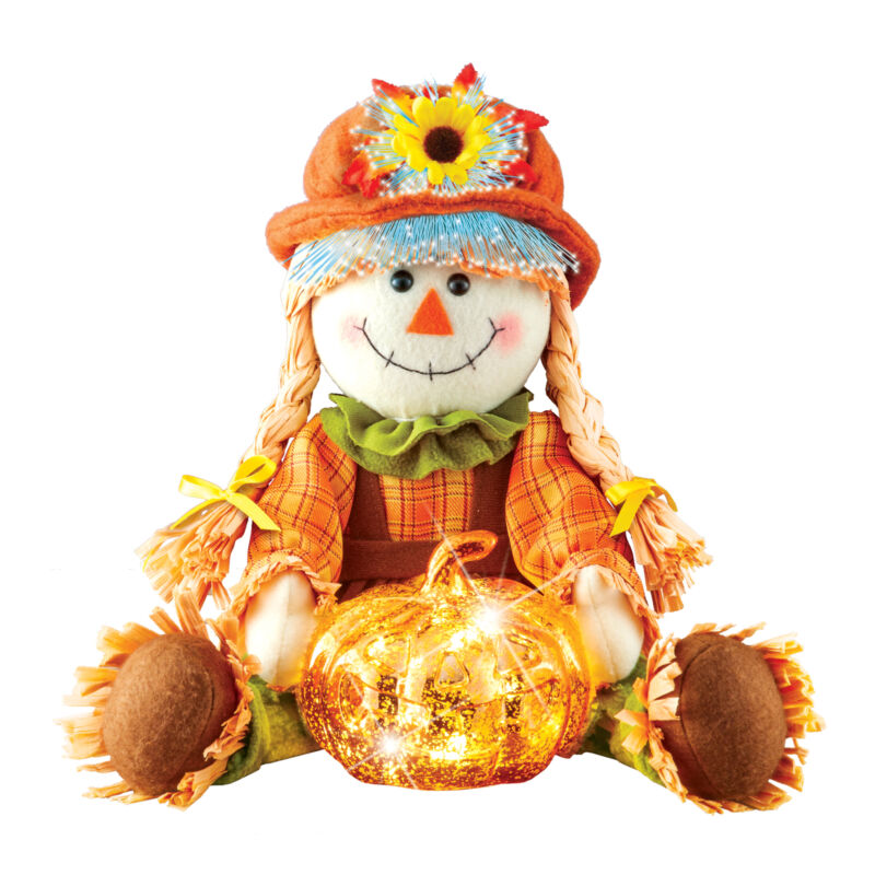 Led Lighted Fiber Optic Straw Girl Scarecrow | Ambient Home Lighting