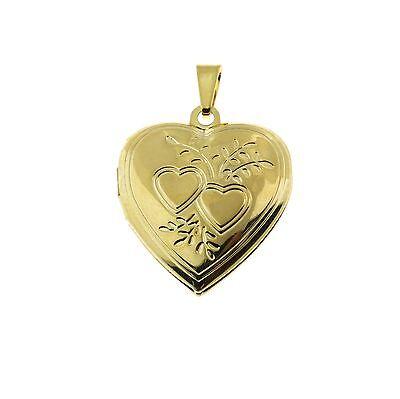 18k Gold Filled Etched Heart Locket (Gold Filled Heart Locket)