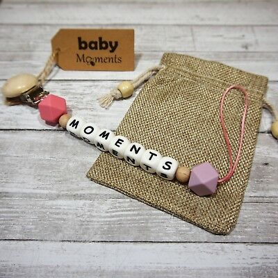 Pacifier clip Personalize Customized Name (7 letters) Baby Gift, teething
