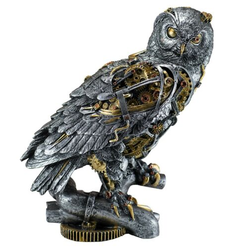 "Silver and Gold Painted Steampunk Owl Figurine Statue 11.5""H Resin Brand New"