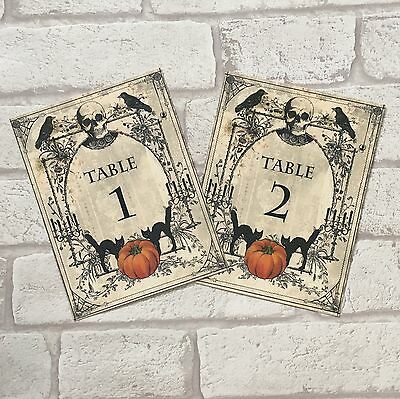 Spooky Halloween Wedding Table Numbers Name Cards Party Sign (Halloween Wedding Centerpieces)