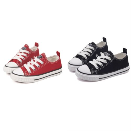 Canvas Shoes Sneakers Toddler Low Top Lace Up Non-Slip For Kids Boys  Size All