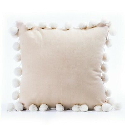 Gogoparti Pom Pom Fringe Throw Pillow Covers, Canvas Cotton Cushion Pillow Sham