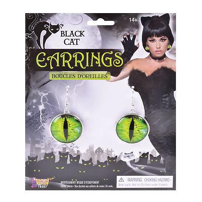 Black Cats Eyes Earrings Halloween Fancy Dress Accessory ()